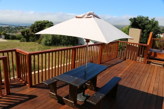 Wooden Guest Deck with Picnic Tables & Umbrellas