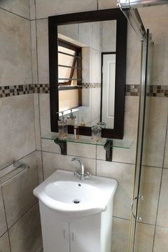 Standard Double Room 2, Shower, Basin, Mirror, and Toilet, Shower Carpet.